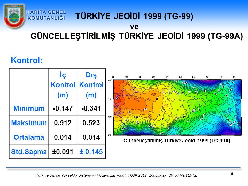 """""""Türkiye Ulusal Yükseklik Sisteminin Modernizasyonu"""", TUJK 2012, Zonguldak, 28-30 Mart 2012. 8 TÜRKİYE JEOİDİ 1999 (TG-99) ve GÜNCELLEŞTİRİLMİŞ TÜRKİY"""