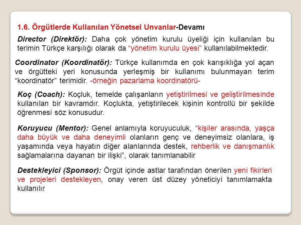 """Director (Direktör): Daha çok yönetim kurulu üyeliği için kullanılan bu terimin Türkçe karşılığı olarak da """"yönetim kurulu üyesi"""" kullanılabilmektedir"""