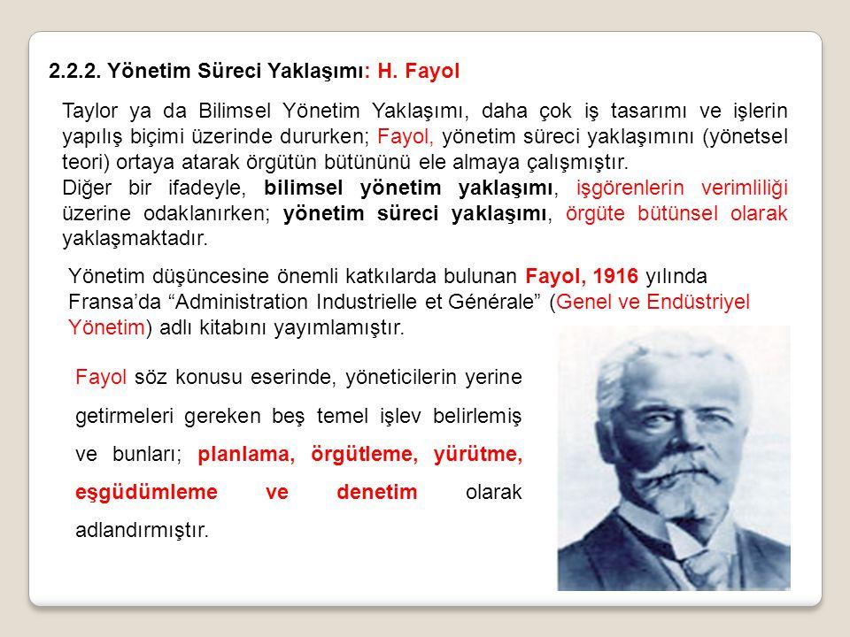 2.2.2. Yönetim Süreci Yaklaşımı: H. Fayol Taylor ya da Bilimsel Yönetim Yaklaşımı, daha çok iş tasarımı ve işlerin yapılış biçimi üzerinde dururken; F