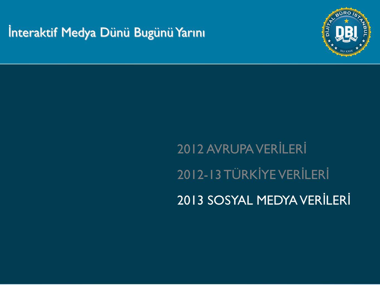2012 AVRUPA VER İ LER İ 2012-13 TÜRK İ YE VER İ LER İ 2013 SOSYAL MEDYA VER İ LER İ İ nteraktif Medya Dünü Bugünü Yarını