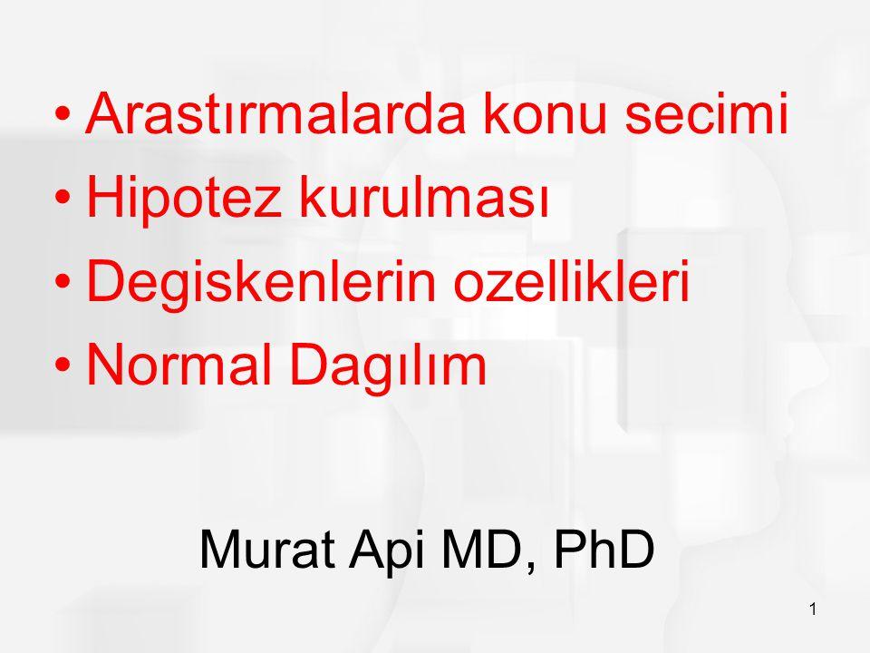 Murat Api MD, PhD 1 Arastırmalarda konu secimi Hipotez kurulması Degiskenlerin ozellikleri Normal Dagılım