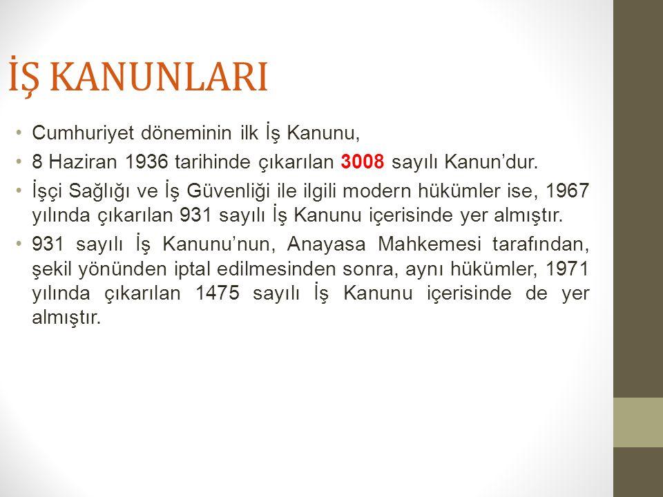 İŞ KANUNLARI Cumhuriyet döneminin ilk İş Kanunu, 8 Haziran 1936 tarihinde çıkarılan 3008 sayılı Kanun'dur.