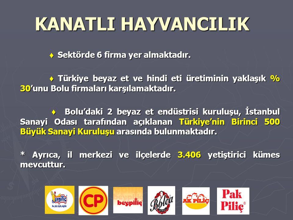 KANATLI HAYVANCILIK ♦ Sektörde 6 firma yer almaktadır.