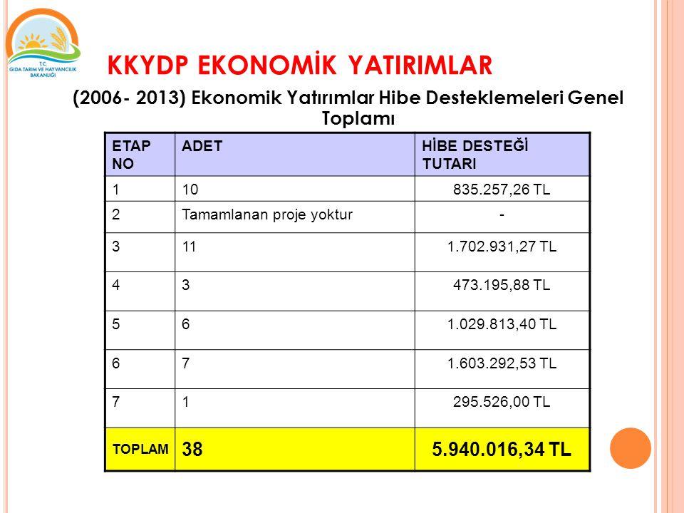 KKYDP EKONOMİK YATIRIMLAR (2006- 2013) Ekonomik Yatırımlar Hibe Desteklemeleri Genel Toplamı ETAP NO ADETHİBE DESTEĞİ TUTARI 110835.257,26 TL 2Tamamlanan proje yoktur- 3111.702.931,27 TL 43473.195,88 TL 561.029.813,40 TL 671.603.292,53 TL 71295.526,00 TL TOPLAM 385.940.016,34 TL