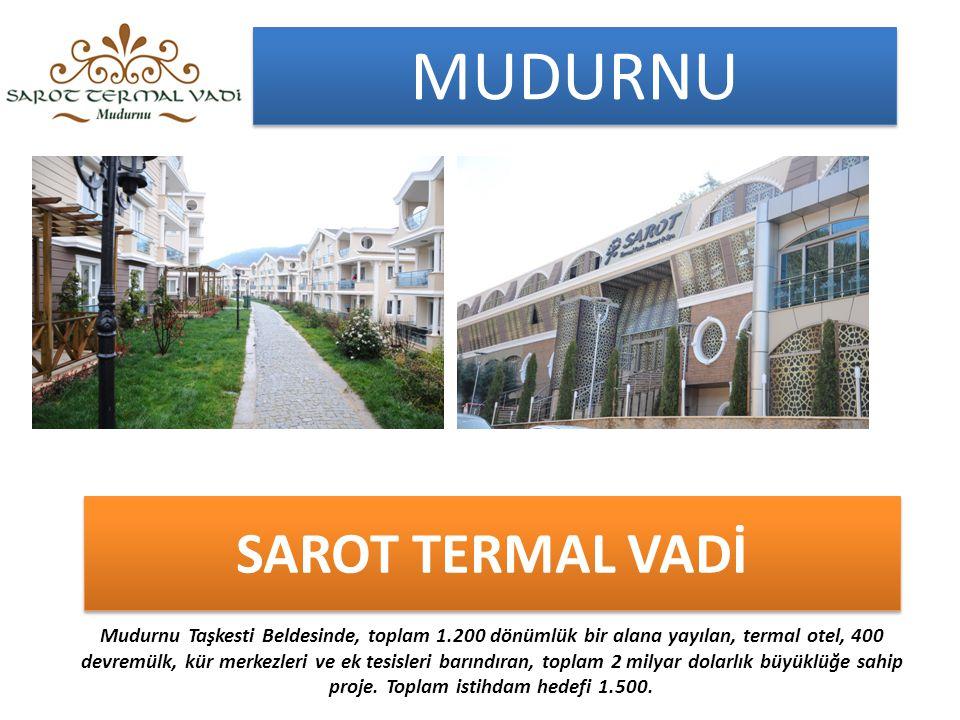 SAROT TERMAL VADİ Mudurnu Taşkesti Beldesinde, toplam 1.200 dönümlük bir alana yayılan, termal otel, 400 devremülk, kür merkezleri ve ek tesisleri barındıran, toplam 2 milyar dolarlık büyüklüğe sahip proje.