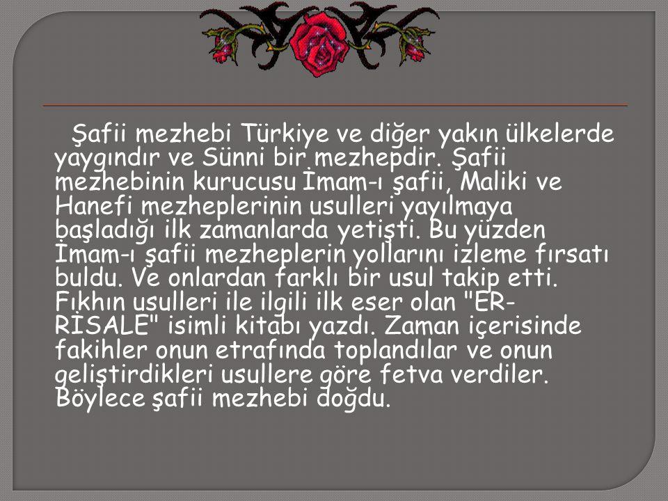 Şafii mezhebi Türkiye ve diğer yakın ülkelerde yaygındır ve Sünni bir mezhepdir. Şafii mezhebinin kurucusu İmam-ı şafii, Maliki ve Hanefi mezheplerini