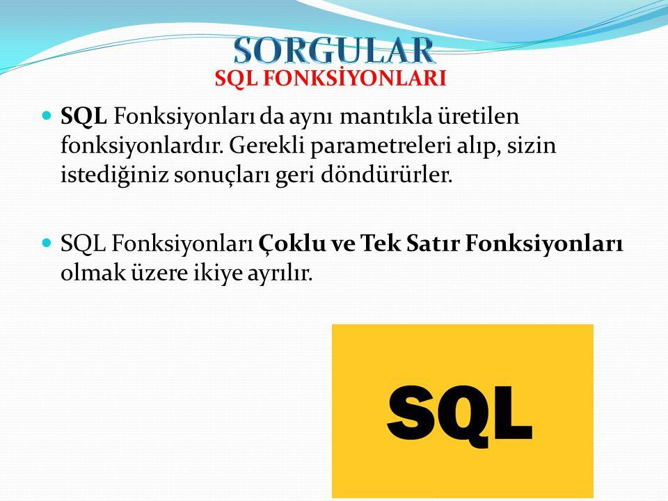 SQL Fonksiyonları da aynı mantıkla üretilen fonksiyonlardır.