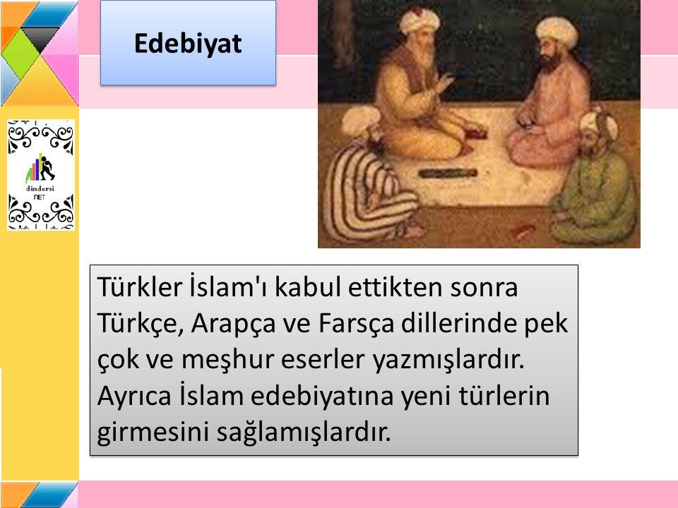 Sanat Türkler sanat alanında İslam medeniyetine çok hizmet etmişler, inançlarını sanat eserlerine yansıtmışlar, hat, tezhip, minyatür, ebru sanatlarının doğup gelişmesini sağlamışlar ve bu sanat dallarında önemli eserler ortaya koymuşlardır.