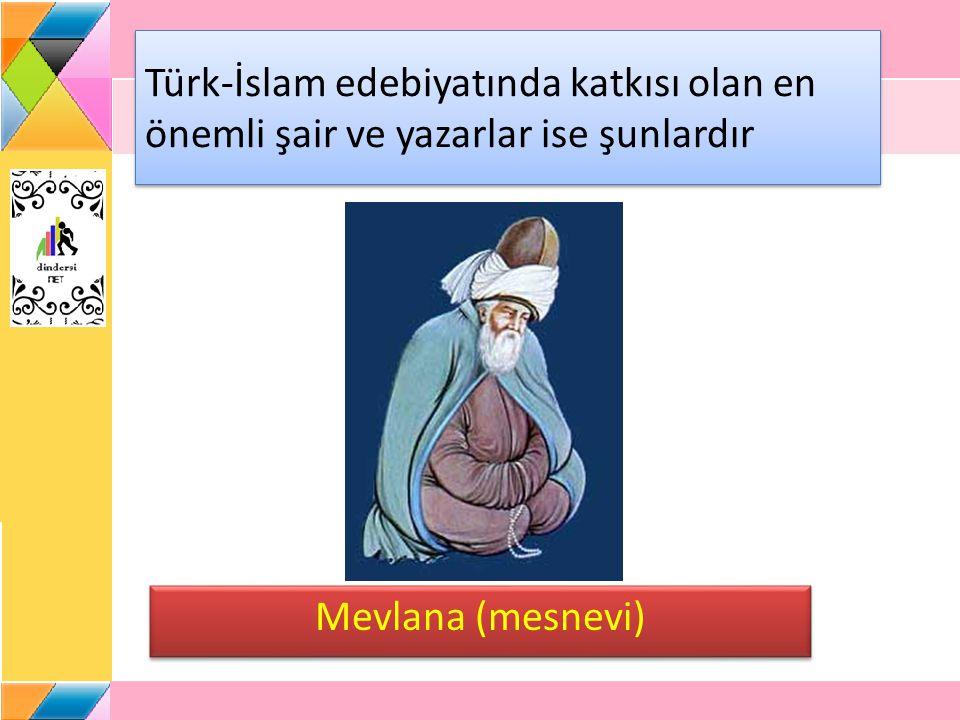 Türk-İslam edebiyatında katkısı olan en önemli şair ve yazarlar ise şunlardır Mevlana (mesnevi)