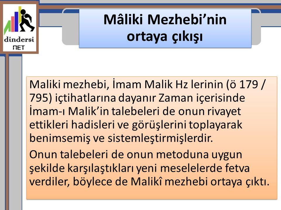 Mâliki Mezhebi'nin ortaya çıkışı Maliki mezhebi, İmam Malik Hz lerinin (ö 179 / 795) içtihatlarına dayanır Zaman içerisinde İmam-ı Malik'in talebeleri