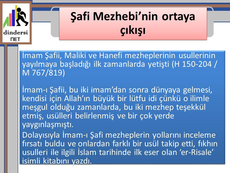 Şafi Mezhebi'nin ortaya çıkışı İmam Şafii, Maliki ve Hanefi mezheplerinin usullerinin yayılmaya başladığı ilk zamanlarda yetişti (H 150-204 / M 767/81