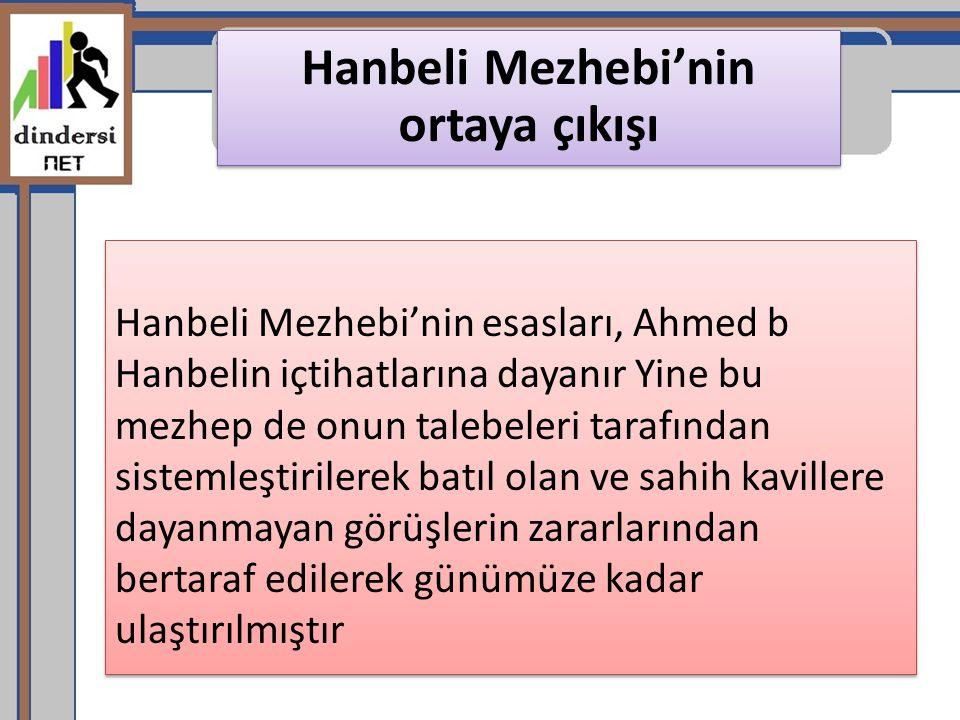 Hanbeli Mezhebi'nin ortaya çıkışı Hanbeli Mezhebi'nin esasları, Ahmed b Hanbelin içtihatlarına dayanır Yine bu mezhep de onun talebeleri tarafından si