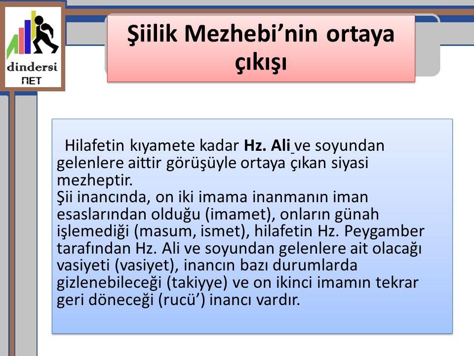 Şiilik Mezhebi'nin ortaya çıkışı Hilafetin kıyamete kadar Hz. Ali ve soyundan gelenlere aittir görüşüyle ortaya çıkan siyasi mezheptir. Şii inancında,
