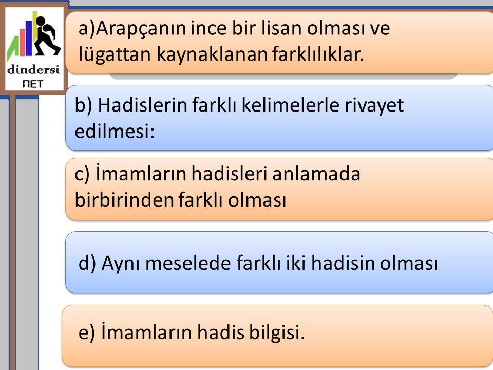 a)Arapçanın ince bir lisan olması ve lügattan kaynaklanan farklılıklar. b) Hadislerin farklı kelimelerle rivayet edilmesi: c) İmamların hadisleri anla