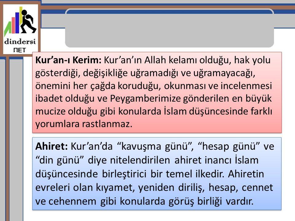 Kur'an-ı Kerim: Kur'an'ın Allah kelamı olduğu, hak yolu gösterdiği, değişikliğe uğramadığı ve uğramayacağı, önemini her çağda koruduğu, okunması ve in