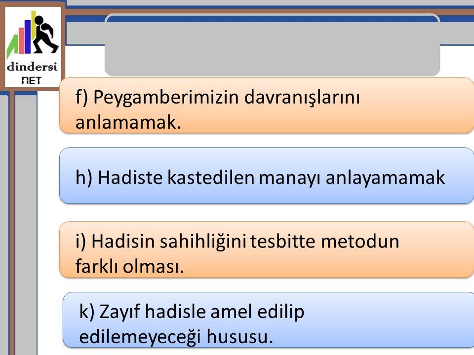 f) Peygamberimizin davranışlarını anlamamak. h) Hadiste kastedilen manayı anlayamamak i) Hadisin sahihliğini tesbitte metodun farklı olması. k) Zayıf