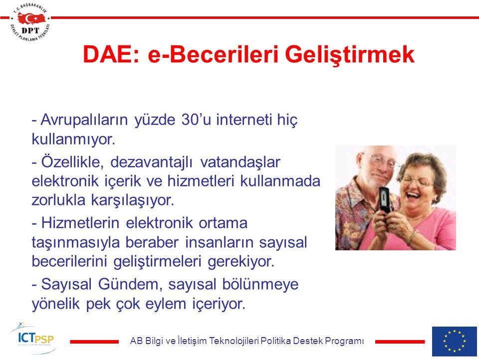 AB Bilgi ve İletişim Teknolojileri Politika Destek Programı DAE: e-Becerileri Geliştirmek - Avrupalıların yüzde 30'u interneti hiç kullanmıyor. - Özel