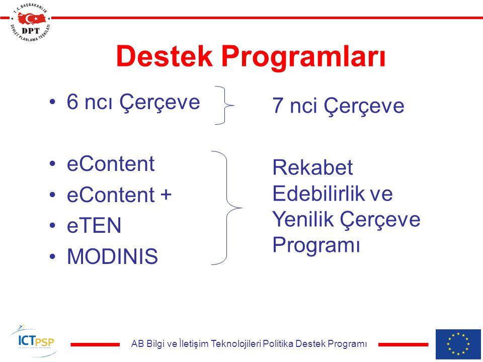 AB Bilgi ve İletişim Teknolojileri Politika Destek Programı Destek Programları 6 ncı Çerçeve eContent eContent + eTEN MODINIS 7 nci Çerçeve Rekabet Edebilirlik ve Yenilik Çerçeve Programı