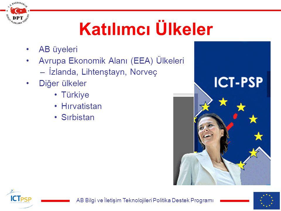 AB Bilgi ve İletişim Teknolojileri Politika Destek Programı Katılımcı Ülkeler AB üyeleri Avrupa Ekonomik Alanı (EEA) Ülkeleri –İzlanda, Lihtenştayn, Norveç Diğer ülkeler Türkiye Hırvatistan Sırbistan