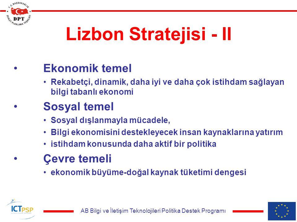 AB Bilgi ve İletişim Teknolojileri Politika Destek Programı Lizbon Stratejisi - II Ekonomik temel Rekabetçi, dinamik, daha iyi ve daha çok istihdam sağlayan bilgi tabanlı ekonomi Sosyal temel Sosyal dışlanmayla mücadele, Bilgi ekonomisini destekleyecek insan kaynaklarına yatırım istihdam konusunda daha aktif bir politika Çevre temeli ekonomik büyüme-doğal kaynak tüketimi dengesi