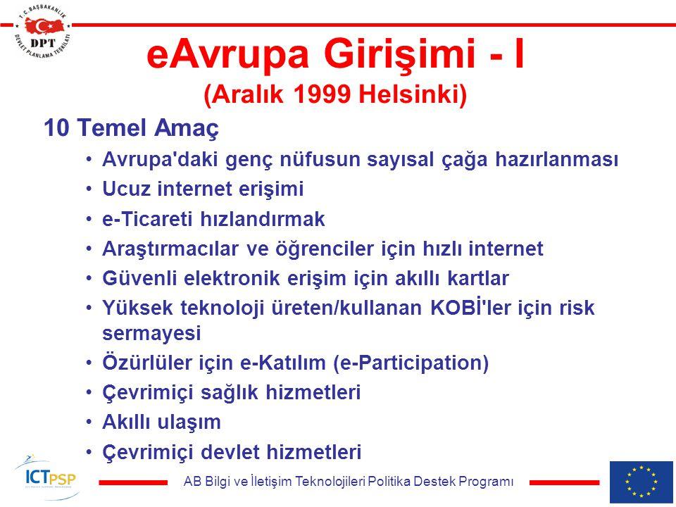 AB Bilgi ve İletişim Teknolojileri Politika Destek Programı eAvrupa Girişimi - I (Aralık 1999 Helsinki) 10 Temel Amaç Avrupa daki genç nüfusun sayısal çağa hazırlanması Ucuz internet erişimi e-Ticareti hızlandırmak Araştırmacılar ve öğrenciler için hızlı internet Güvenli elektronik erişim için akıllı kartlar Yüksek teknoloji üreten/kullanan KOBİ ler için risk sermayesi Özürlüler için e-Katılım (e-Participation) Çevrimiçi sağlık hizmetleri Akıllı ulaşım Çevrimiçi devlet hizmetleri