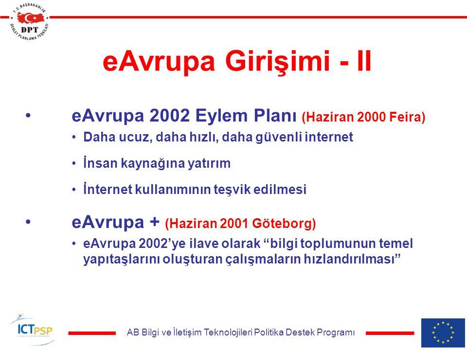AB Bilgi ve İletişim Teknolojileri Politika Destek Programı eAvrupa Girişimi - II eAvrupa 2002 Eylem Planı (Haziran 2000 Feira) Daha ucuz, daha hızlı,