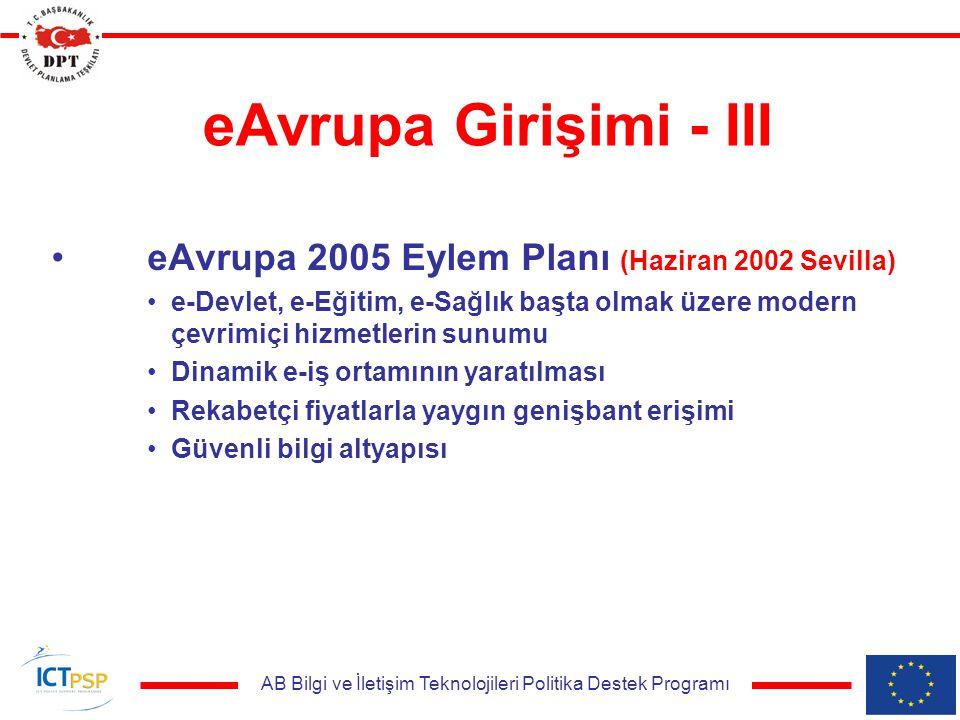 AB Bilgi ve İletişim Teknolojileri Politika Destek Programı eAvrupa Girişimi - III eAvrupa 2005 Eylem Planı (Haziran 2002 Sevilla) e-Devlet, e-Eğitim, e-Sağlık başta olmak üzere modern çevrimiçi hizmetlerin sunumu Dinamik e-iş ortamının yaratılması Rekabetçi fiyatlarla yaygın genişbant erişimi Güvenli bilgi altyapısı
