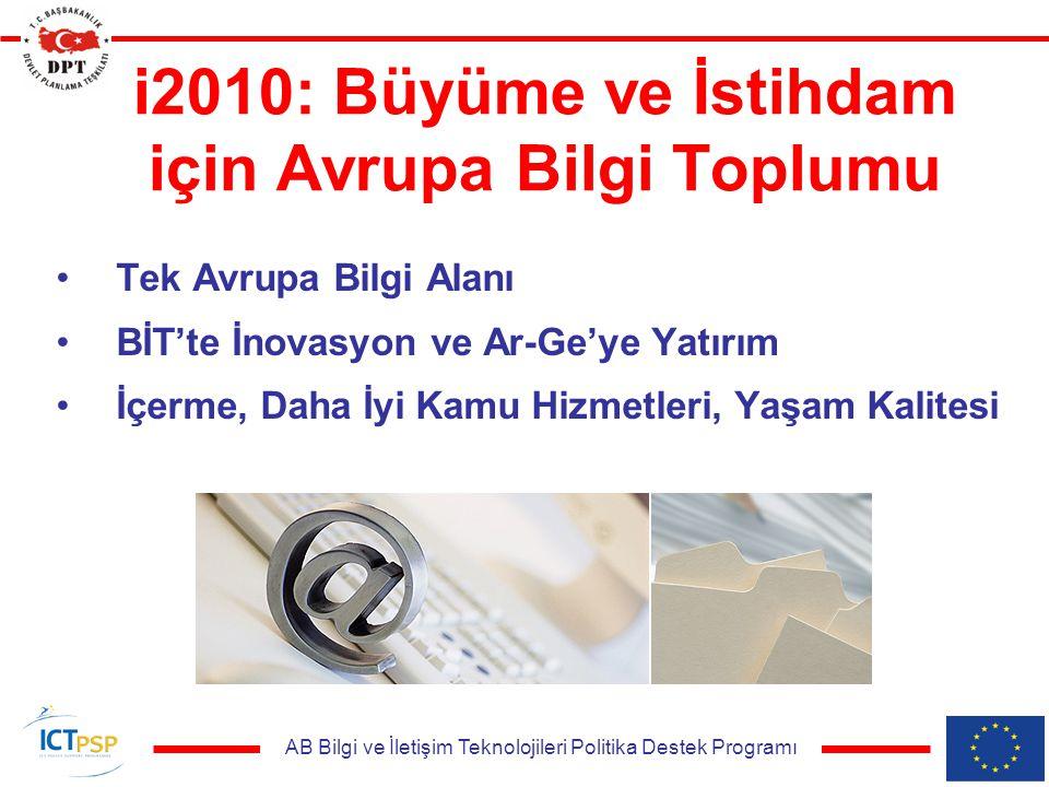 AB Bilgi ve İletişim Teknolojileri Politika Destek Programı i2010: Büyüme ve İstihdam için Avrupa Bilgi Toplumu Tek Avrupa Bilgi Alanı BİT'te İnovasyon ve Ar-Ge'ye Yatırım İçerme, Daha İyi Kamu Hizmetleri, Yaşam Kalitesi