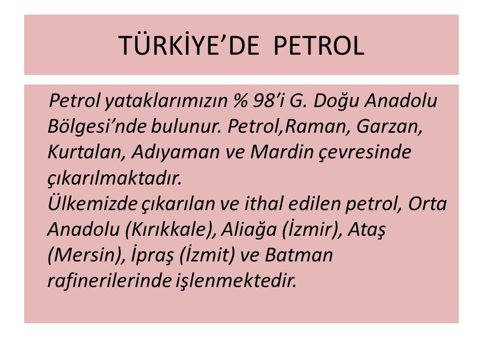 TÜRKİYE'DE PETROL Petrol yataklarımızın % 98′i G. Doğu Anadolu Bölgesi'nde bulunur. Petrol,Raman, Garzan, Kurtalan, Adıyaman ve Mardin çevresinde çıka