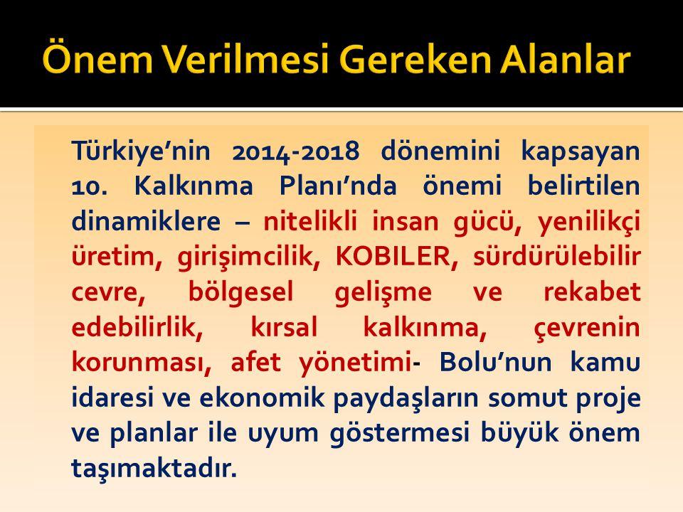 Türkiye'nin 2014-2018 dönemini kapsayan 10. Kalkınma Planı'nda önemi belirtilen dinamiklere – nitelikli insan gücü, yenilikçi üretim, girişimcilik, KO