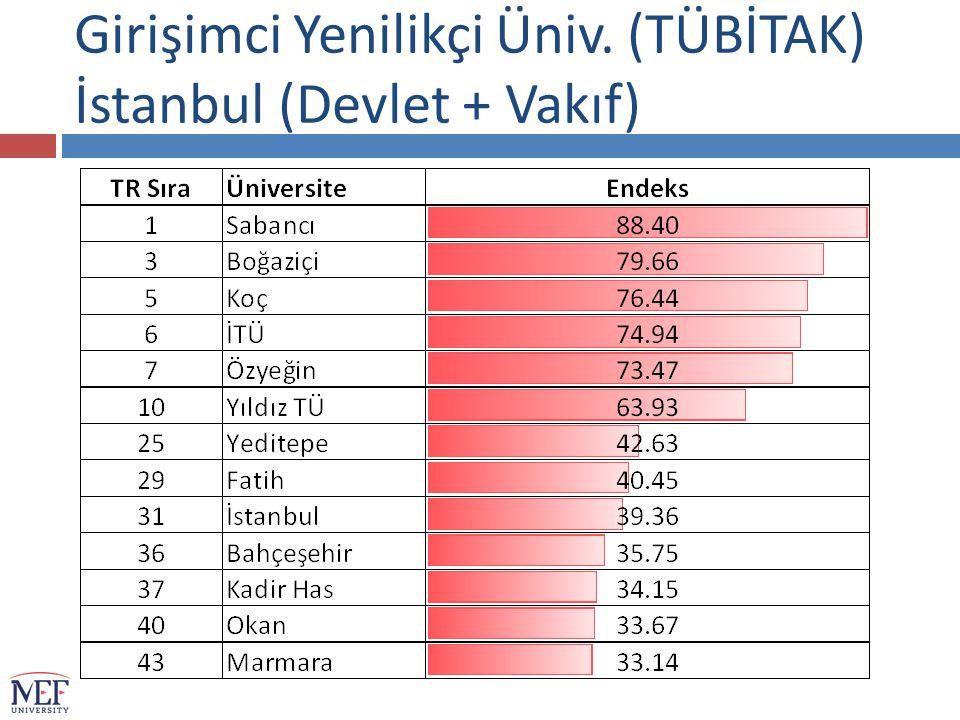Girişimci Yenilikçi Üniv. (TÜBİTAK) İstanbul (Devlet + Vakıf)