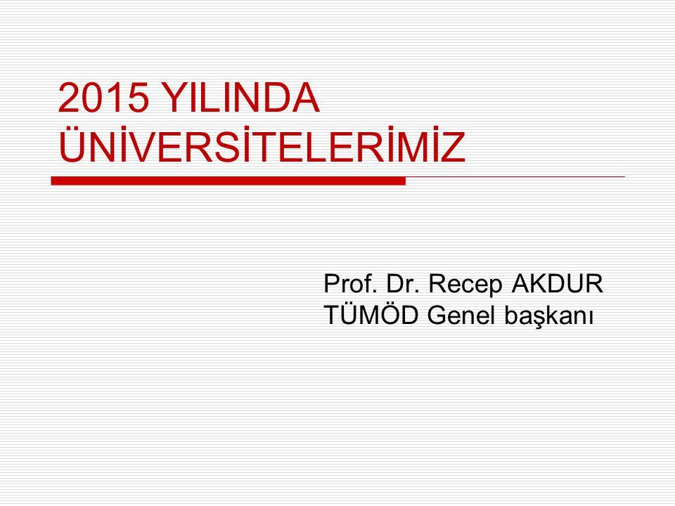 2015 YILINDA ÜNİVERSİTELERİMİZ Prof. Dr. Recep AKDUR TÜMÖD Genel başkanı