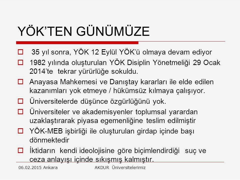 YÖK'TEN GÜNÜMÜZE  35 yıl sonra, YÖK 12 Eylül YÖK'ü olmaya devam ediyor  1982 yılında oluşturulan YÖK Disiplin Yönetmeliği 29 Ocak 2014'te tekrar yürürlüğe sokuldu.