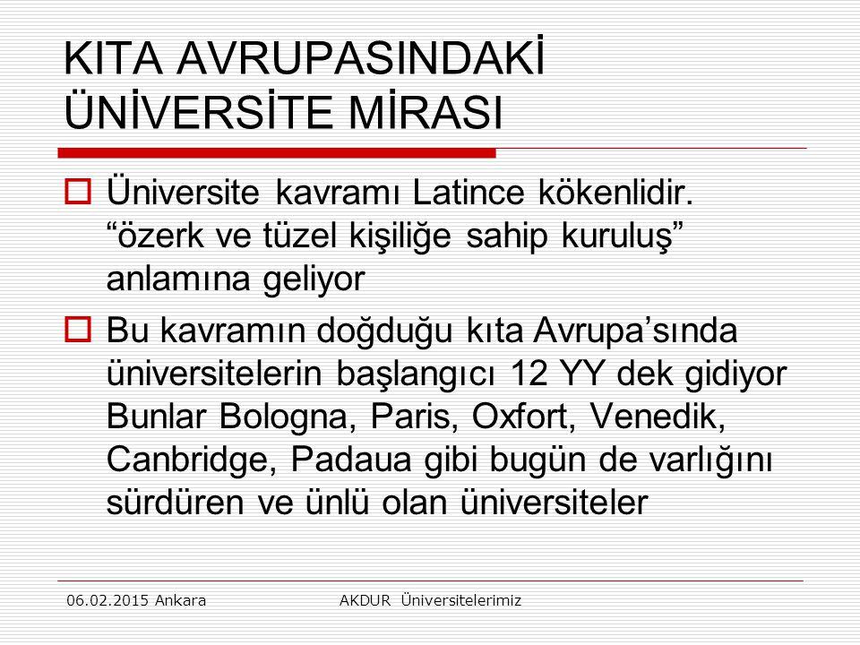 KITA AVRUPASINDAKİ ÜNİVERSİTE MİRASI  Üniversite kavramı Latince kökenlidir.