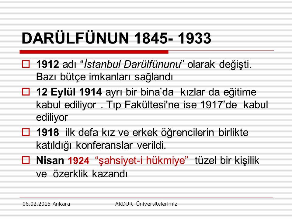 DARÜLFÜNUN 1845- 1933  1912 adı İstanbul Darülfünunu olarak değişti.