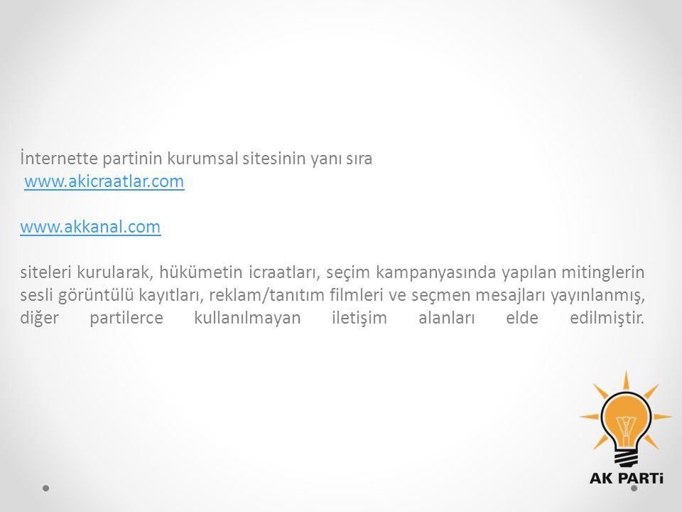 İnternette partinin kurumsal sitesinin yanı sıra www.akicraatlar.com www.akkanal.com siteleri kurularak, hükümetin icraatları, seçim kampanyasında yap