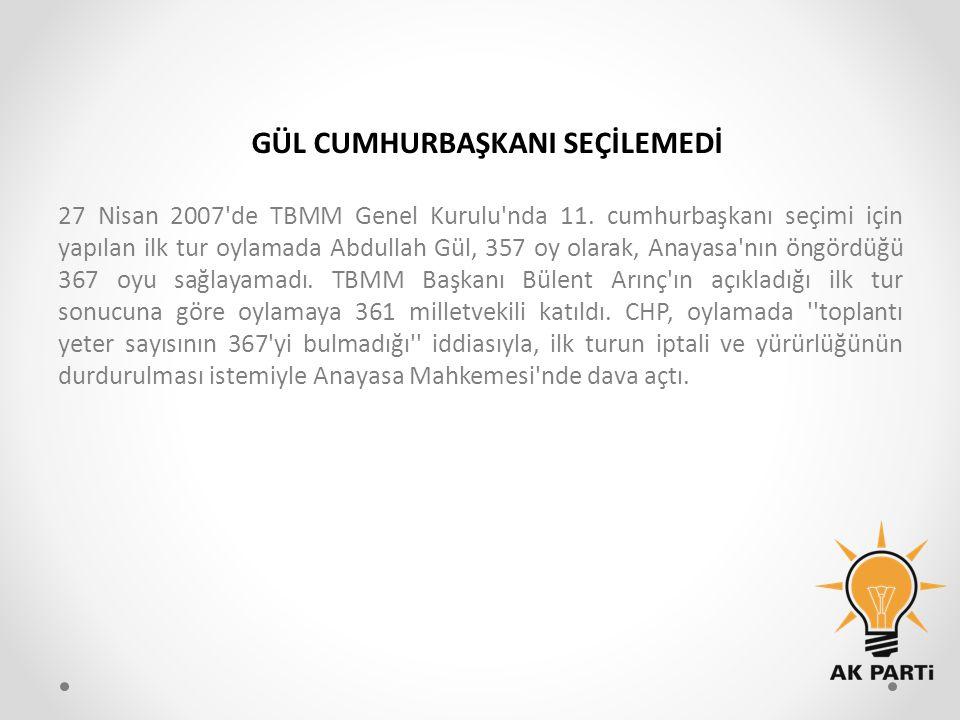 27 Nisan 2007'de TBMM Genel Kurulu'nda 11. cumhurbaşkanı seçimi için yapılan ilk tur oylamada Abdullah Gül, 357 oy olarak, Anayasa'nın öngördüğü 367 o
