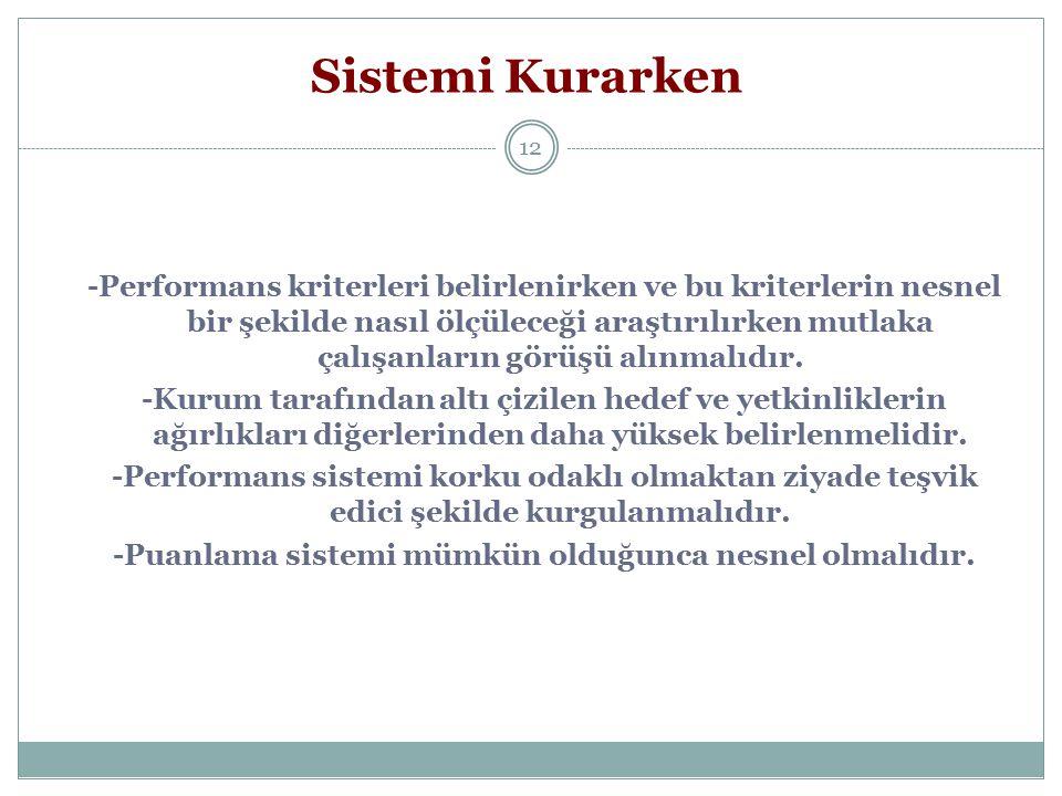 12 Sistemi Kurarken -Performans kriterleri belirlenirken ve bu kriterlerin nesnel bir şekilde nasıl ölçüleceği araştırılırken mutlaka çalışanların gör