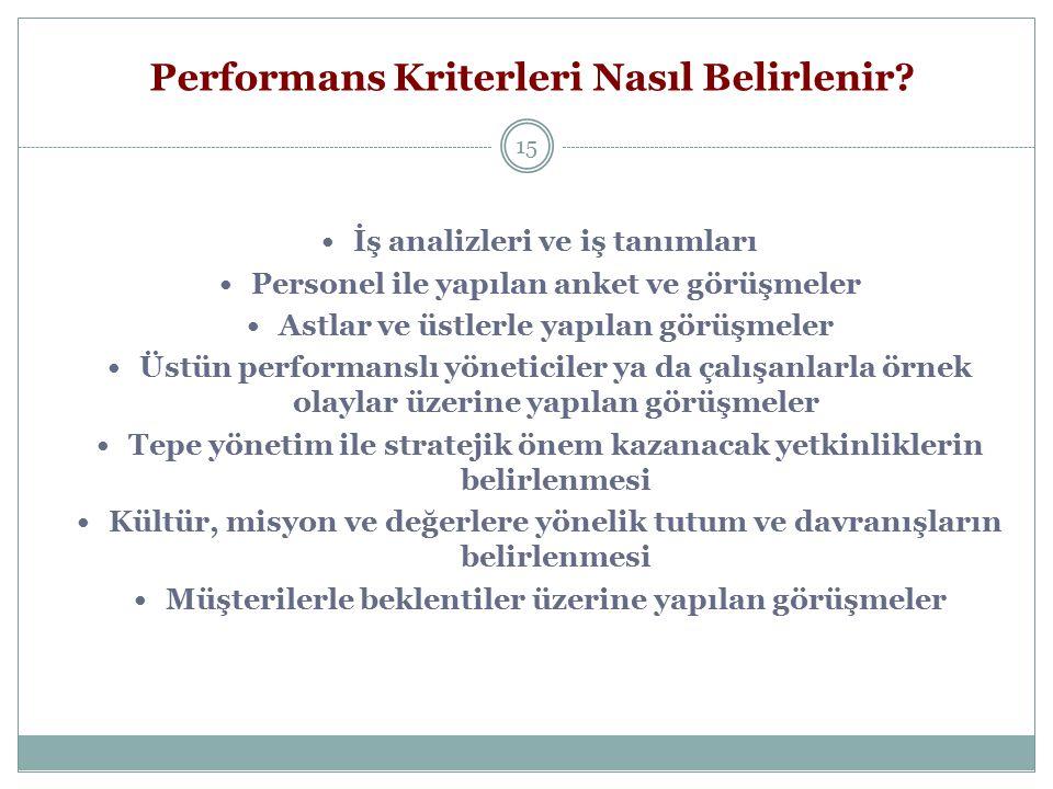 Performans Kriterleri Nasıl Belirlenir? 15 İş analizleri ve iş tanımları Personel ile yapılan anket ve görüşmeler Astlar ve üstlerle yapılan görüşmele