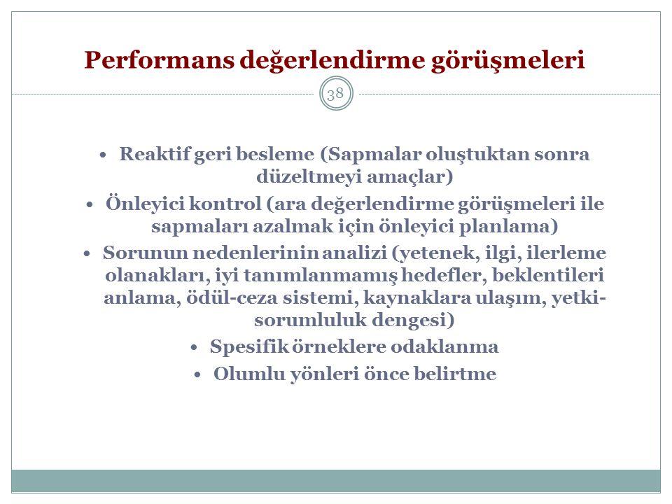 Performans değerlendirme görüşmeleri 38 Reaktif geri besleme (Sapmalar oluştuktan sonra düzeltmeyi amaçlar) Önleyici kontrol (ara değerlendirme görüşm