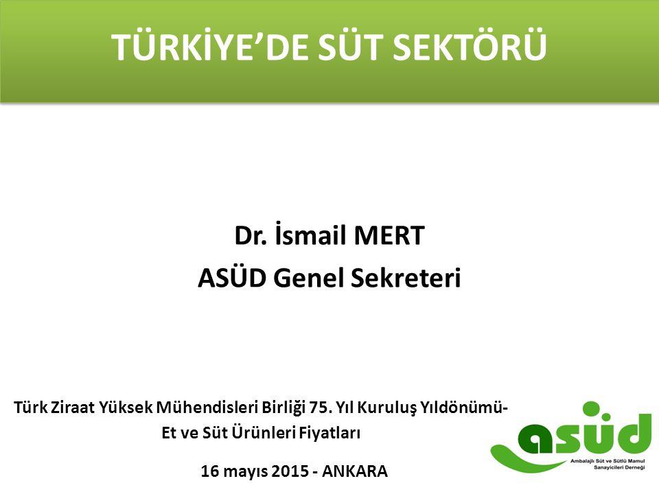 TÜRKİYE'DE SÜT SEKTÖRÜ Dr. İsmail MERT ASÜD Genel Sekreteri Türk Ziraat Yüksek Mühendisleri Birliği 75. Yıl Kuruluş Yıldönümü- Et ve Süt Ürünleri Fiya