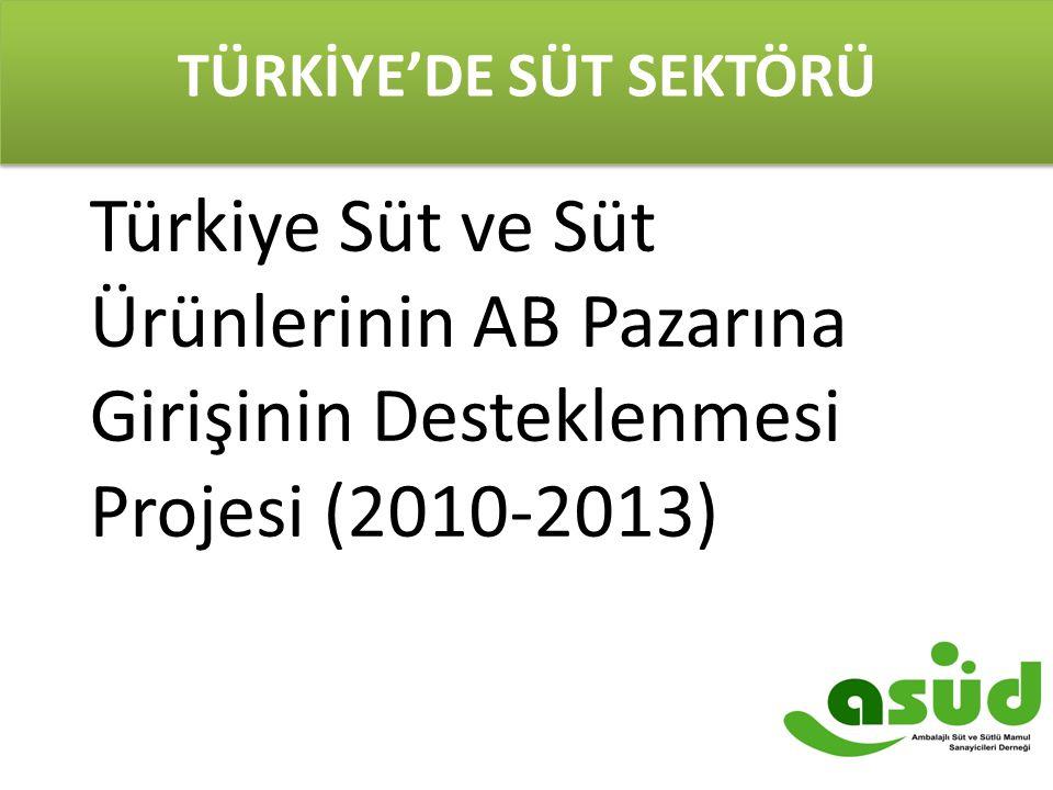 TÜRKİYE'DE SÜT SEKTÖRÜ Türkiye Süt ve Süt Ürünlerinin AB Pazarına Girişinin Desteklenmesi Projesi (2010-2013)
