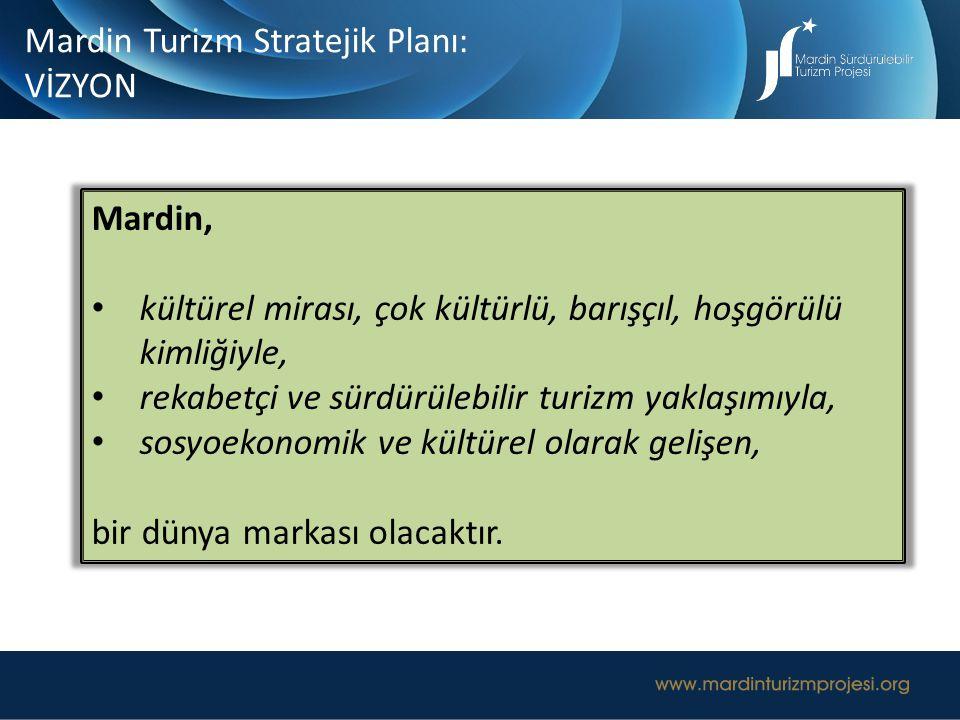 Mardin Turizm Stratejik Planı: VİZYON Mardin, kültürel mirası, çok kültürlü, barışçıl, hoşgörülü kimliğiyle, rekabetçi ve sürdürülebilir turizm yaklaş