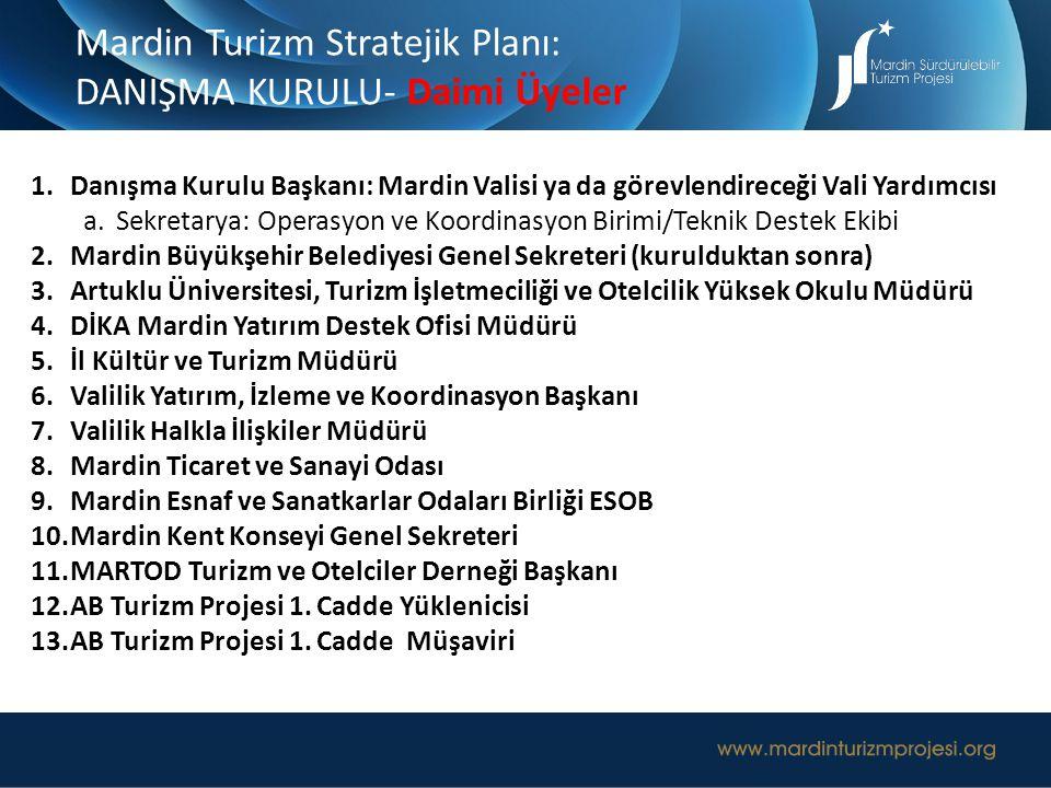 Mardin Turizm Stratejik Planı: DANIŞMA KURULU- Daimi Üyeler 1.Danışma Kurulu Başkanı: Mardin Valisi ya da görevlendireceği Vali Yardımcısı a.Sekretary