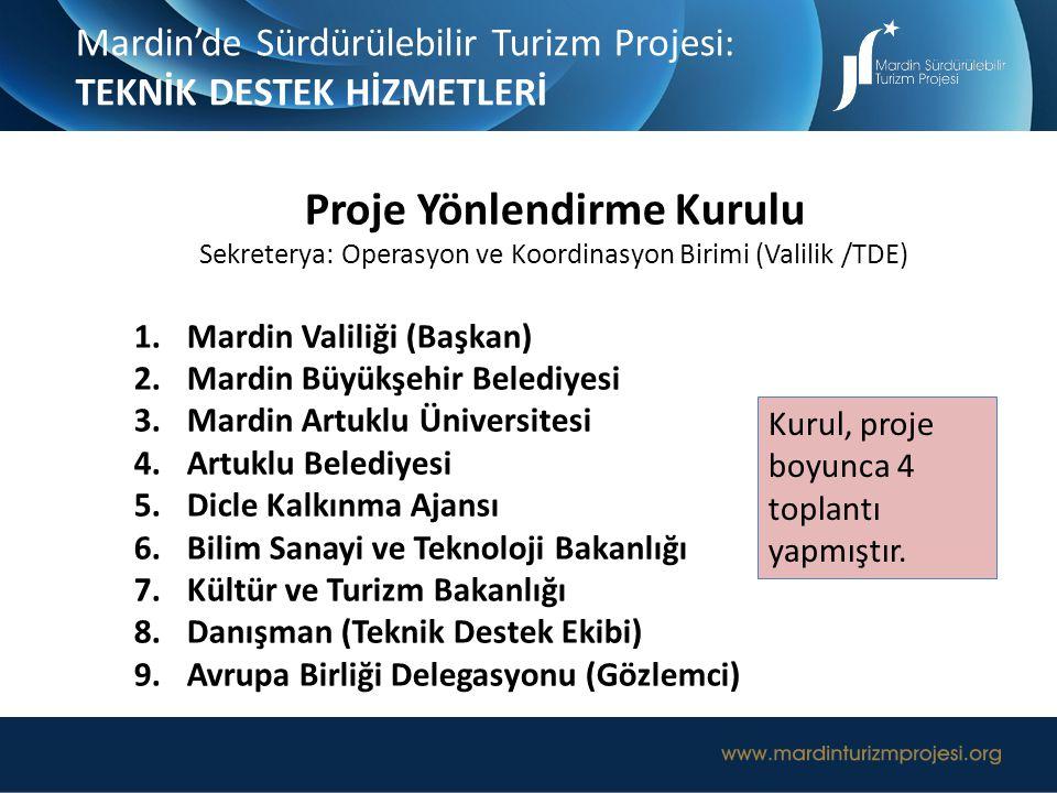 Proje Yönlendirme Kurulu Sekreterya: Operasyon ve Koordinasyon Birimi (Valilik /TDE) 1.Mardin Valiliği (Başkan) 2.Mardin Büyükşehir Belediyesi 3.Mardi