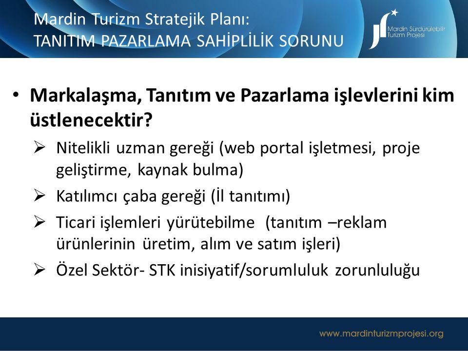 Mardin Turizm Stratejik Planı: TANITIM PAZARLAMA SAHİPLİLİK SORUNU Markalaşma, Tanıtım ve Pazarlama işlevlerini kim üstlenecektir?  Nitelikli uzman g