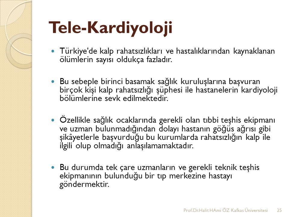Tele-Kardiyoloji Türkiye'de kalp rahatsızlıkları ve hastalıklarından kaynaklanan ölümlerin sayısı oldukça fazladır. Bu sebeple birinci basamak sa ğ lı