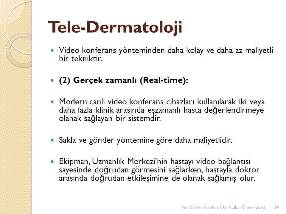 Tele-Dermatoloji Video konferans yönteminden daha kolay ve daha az maliyetli bir tekniktir. (2) Gerçek zamanlı (Real-time): Modern canlı video konfera