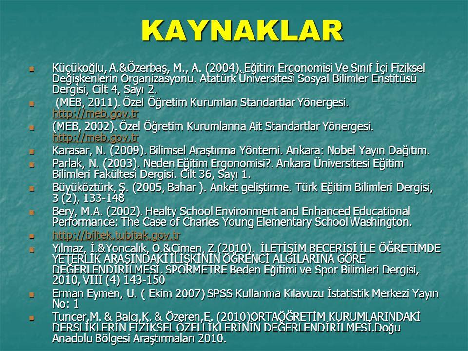 KAYNAKLAR Küçükoğlu, A.&Özerbaş, M., A.(2004).
