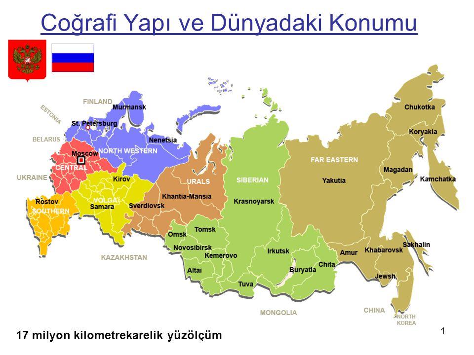 Nüfus: 142,5 milyon (2013) Resmi dil: Rusça Yönetim Biçimi: Parlamenter Demokrasi Başkent: Moskova Önemli kentler: St.